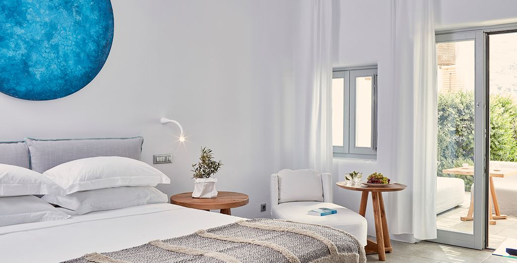 Your room is decorated in typical Cycladic style...