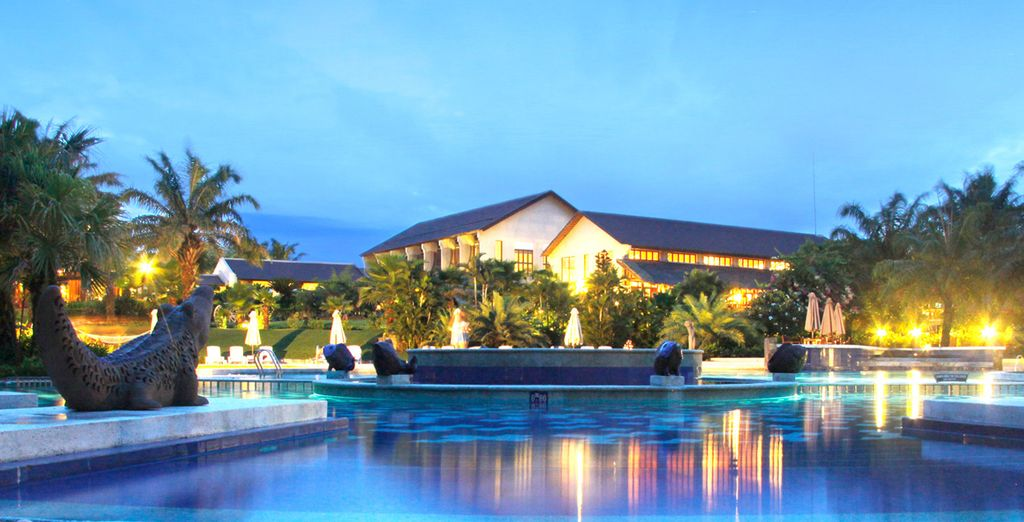 Where you will be staying in an elegant hotel (pictured: Palm Garden Resort)