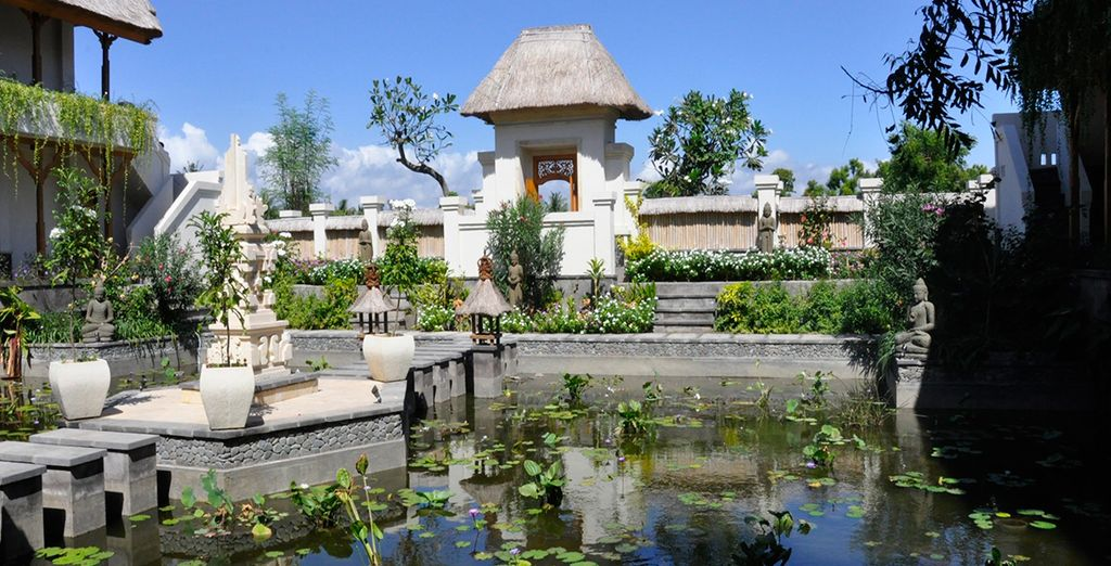 The resort is set around a calming lotus pond