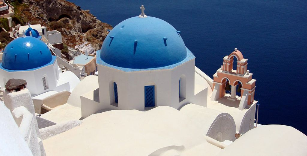 Santorini is known for its chalk-white architecture