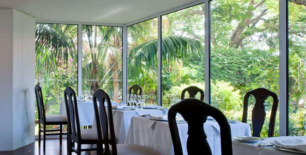 Admire wonderful views  of the gardens as you eat