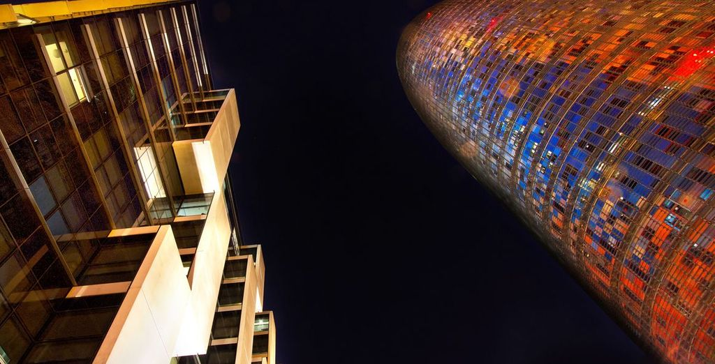 Admire the architecture of the ultra modern and contemporary Silken Diagonal Barcelona