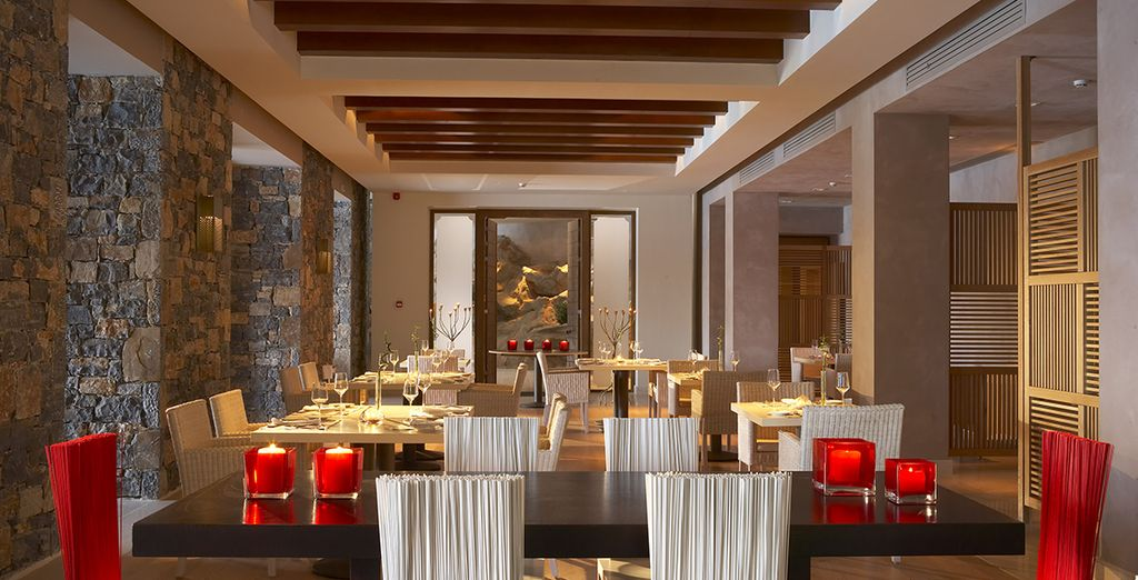 Savour the Cretan fare at the superb hotel restaurant