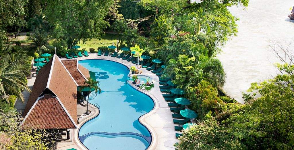 Make use of the hotel's wonderful facilities, including this lush garden pool