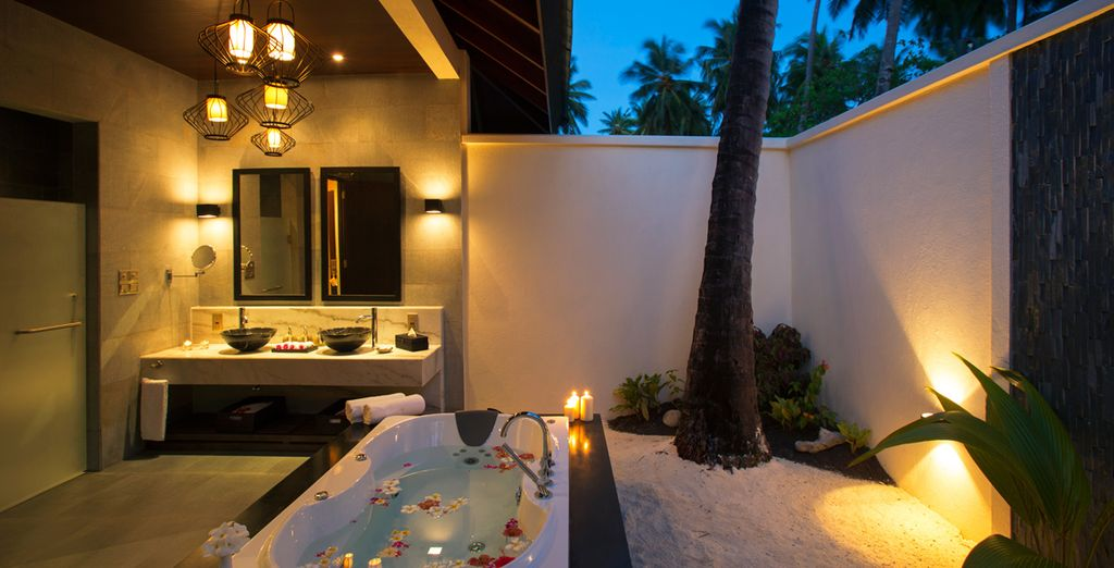 And a tranquil open air ensuite bathroom