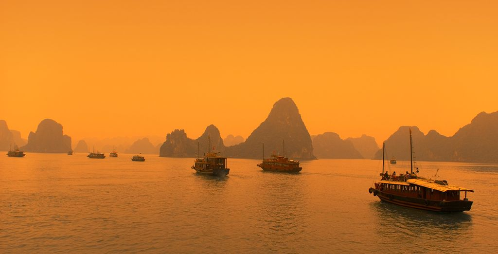 Spend the night on the beautiful waters of Ha Long Bay in your cruise boat