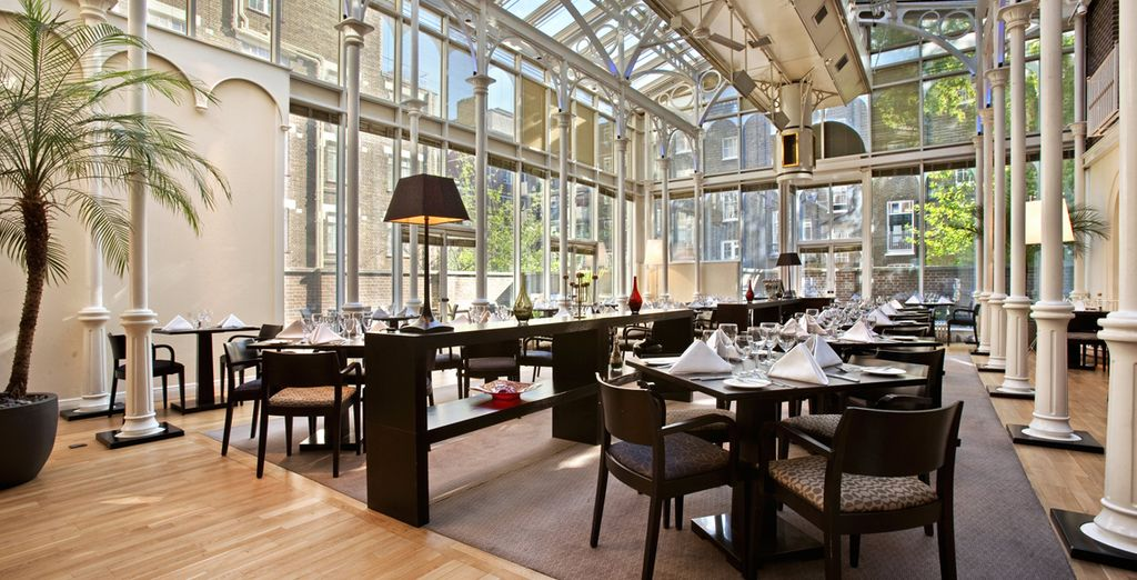 Dine in the sun-dappled Victorian conservatory at this chic London hotel