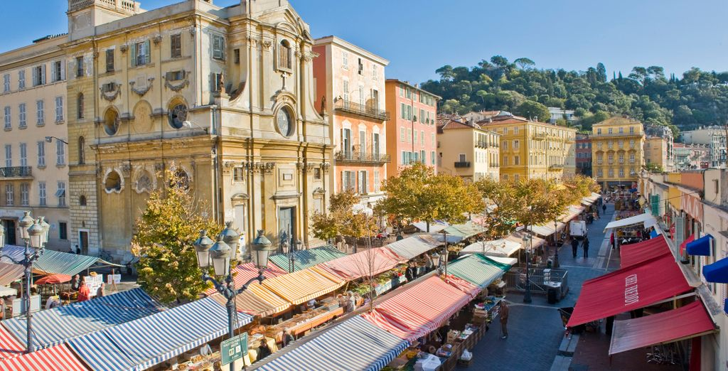 Experience the famous flower market in Nice