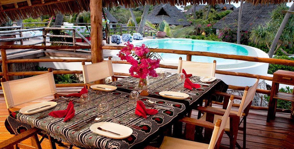The hotel restaurant one of the best on the island of Zanzibar