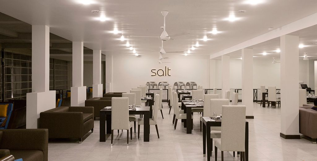 Discover local flavours in the modern restaurant, Salt