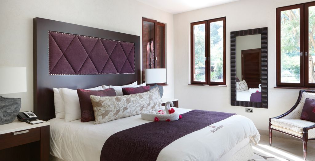 Where the room is decorated in neutral tones with rich colour accents