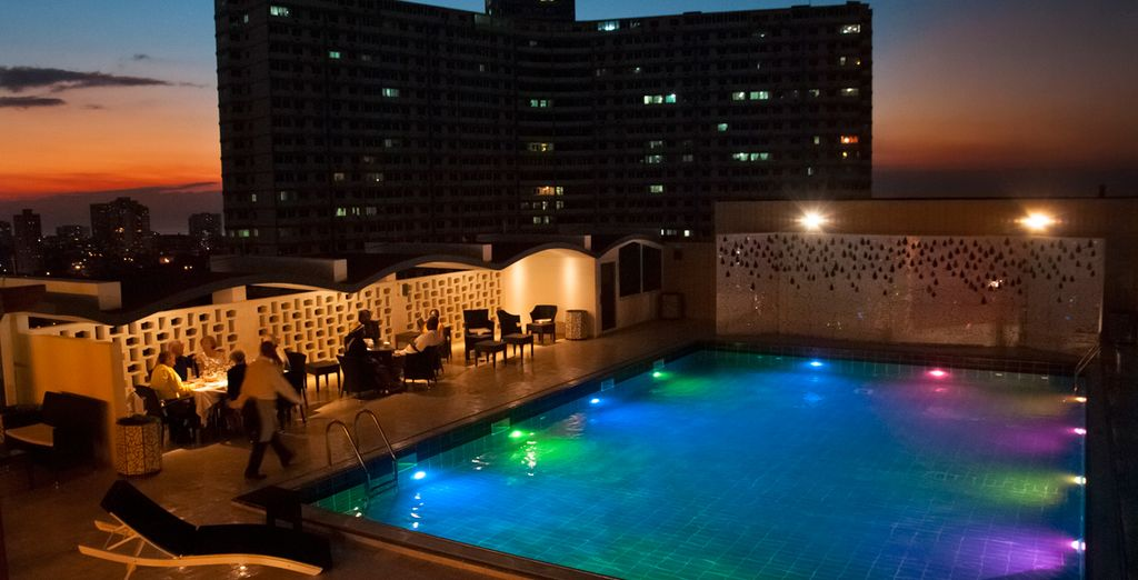 Take a dip in the sparkling rooftop pool