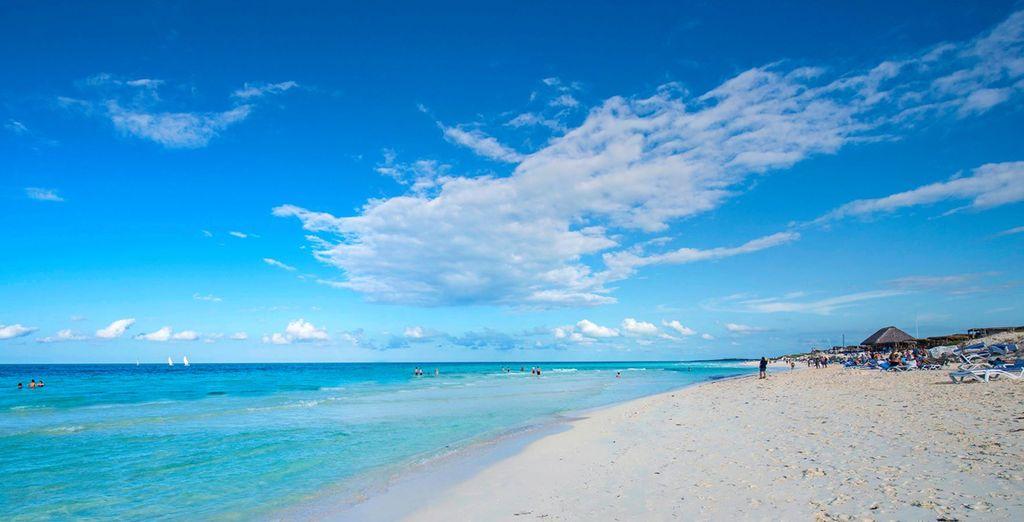Overlooking the stunning blue sea