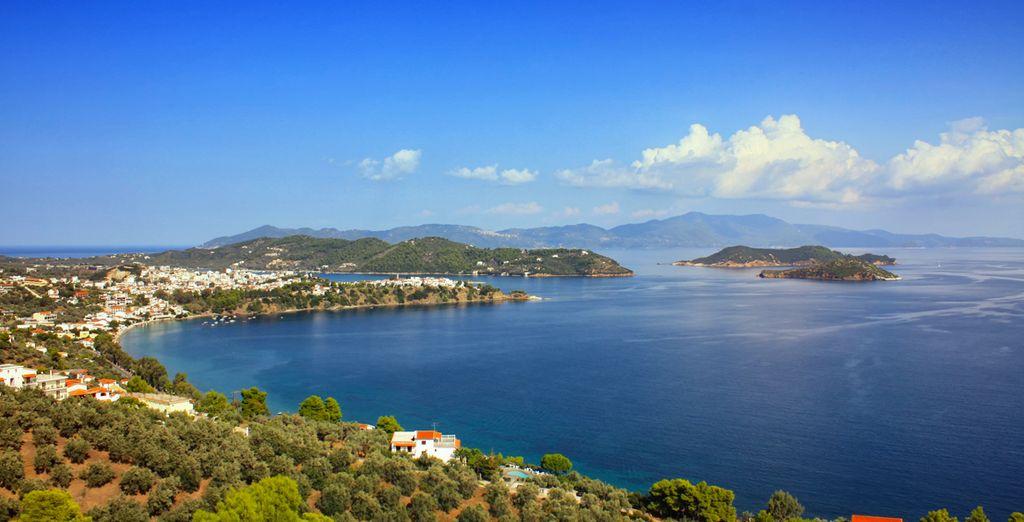 All in the sun-dappled Greek island of Skiathos