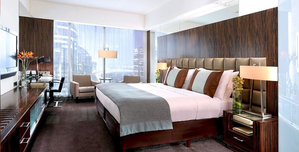 A deluxe room with panoramic views awaits