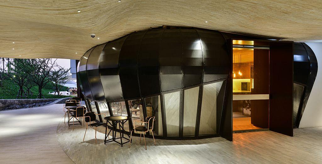 The hotel has a futuristic feel