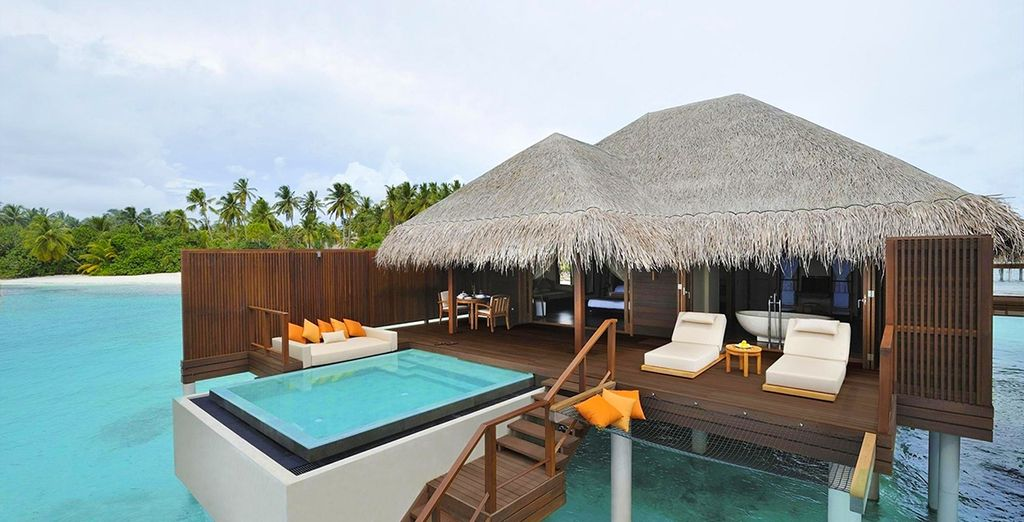 Or splash out on an Ocean Villa poised over the lagoon...