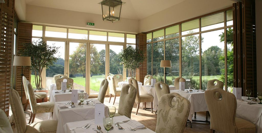Order food in the conservatory restaurant