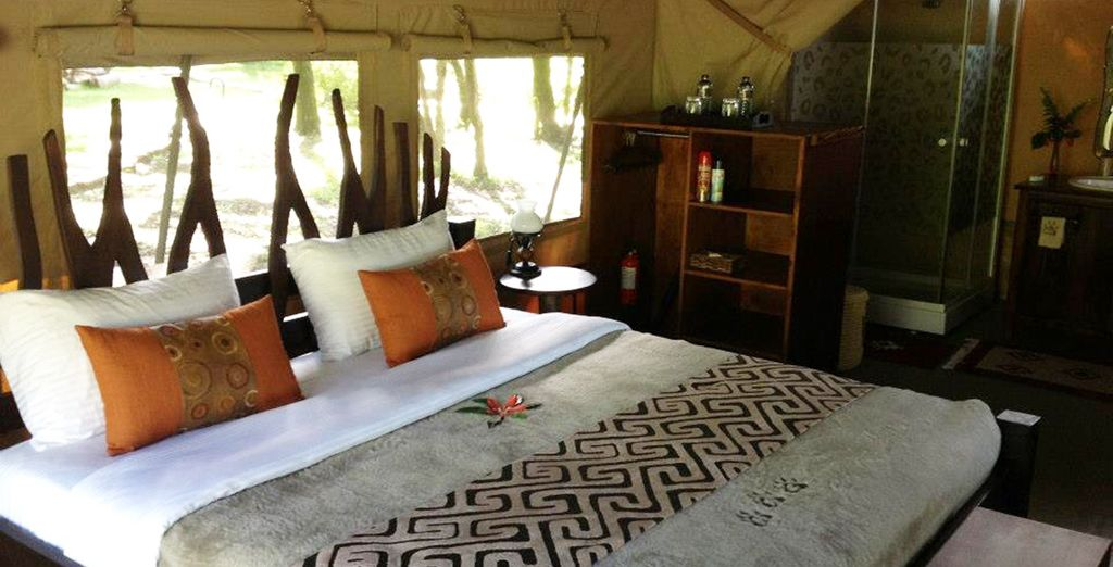 In a superior tent on full board basis