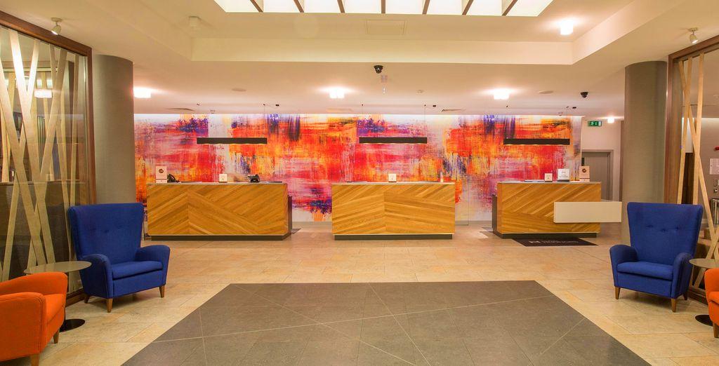 Striking, vibrant design greets you upon entering the Doubletree Hilton London Islington