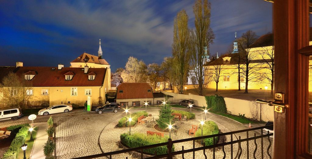Is nestled in the historic UNESCO grounds of the Strahov Monastery