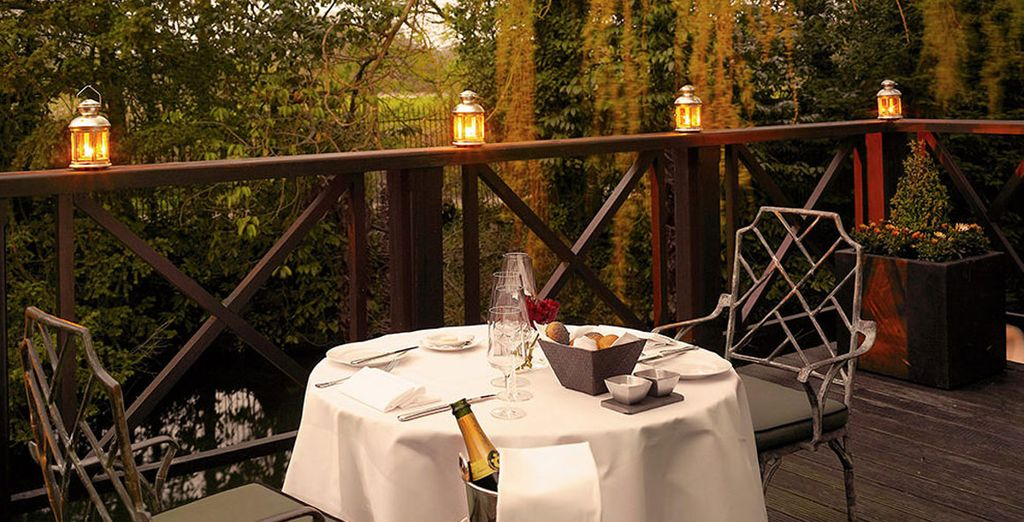 In the warmer months, enjoy a glass of fizz on the terrace
