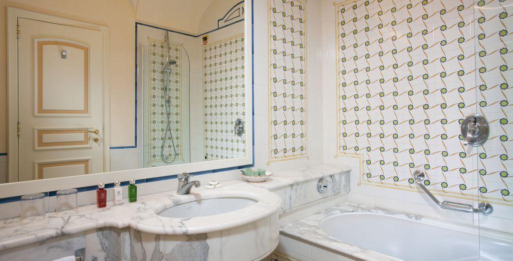 And a tastefully modern bathroom