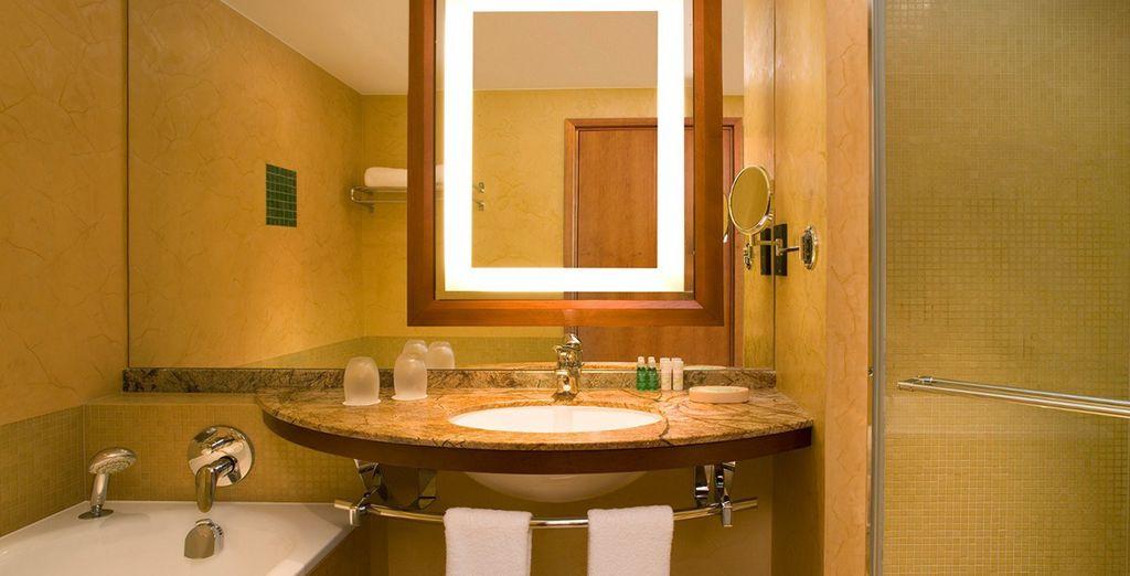 Where an elegant and spacious bathroom awaits