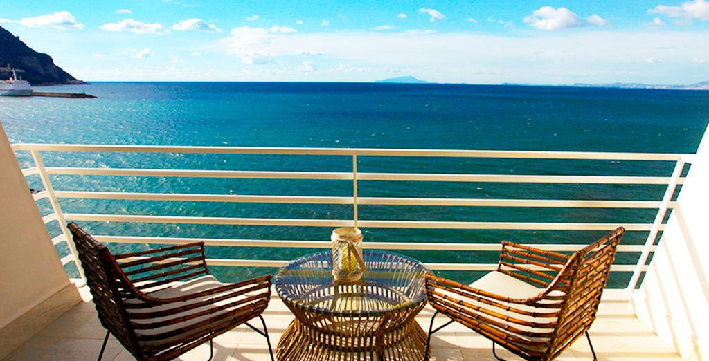 Your room boasts these incredible views over the expansive sea....