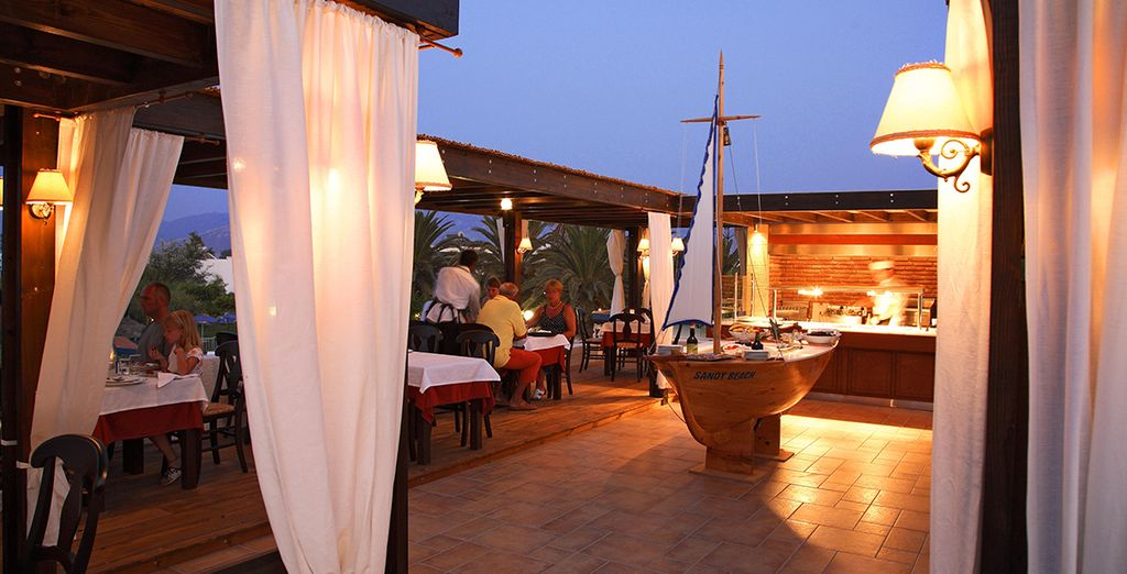 Enjoy meals in the taverna