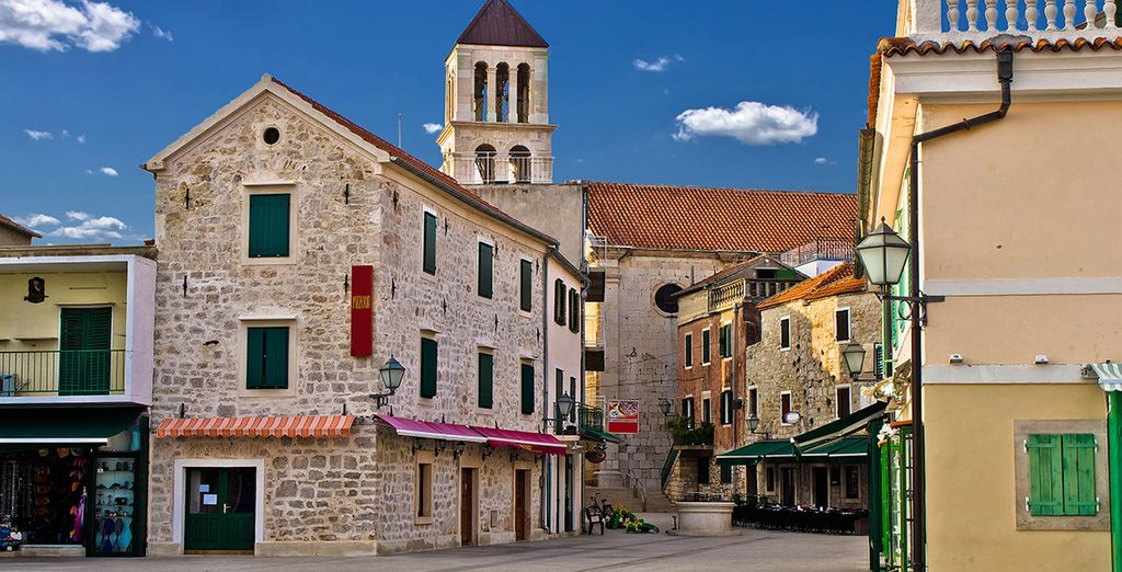 Explore the winding cobbled streets of Vodice