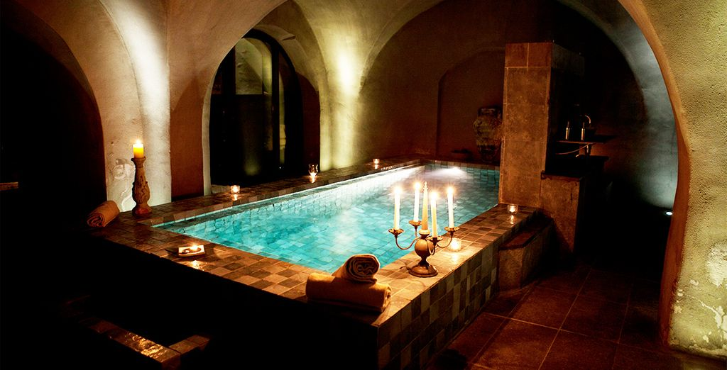 Discover the cavernous spa....