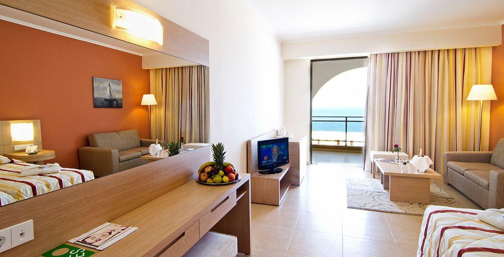 Your spacious room has wonderful sea views