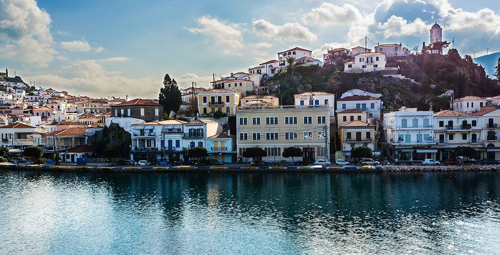 Explore the pretty town of Poros, which has an authentic, laid back and quiet atmosphere
