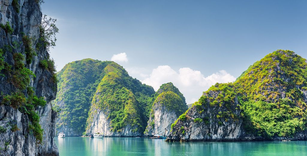 Marvel at Ha Long Bay, a World Heritage Area of outstanding natural beauty