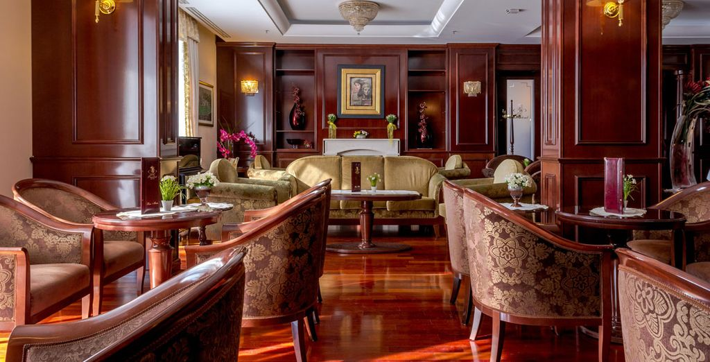 Enjoy a perfectly brewed cup of coffee in the hotel's regal interiors