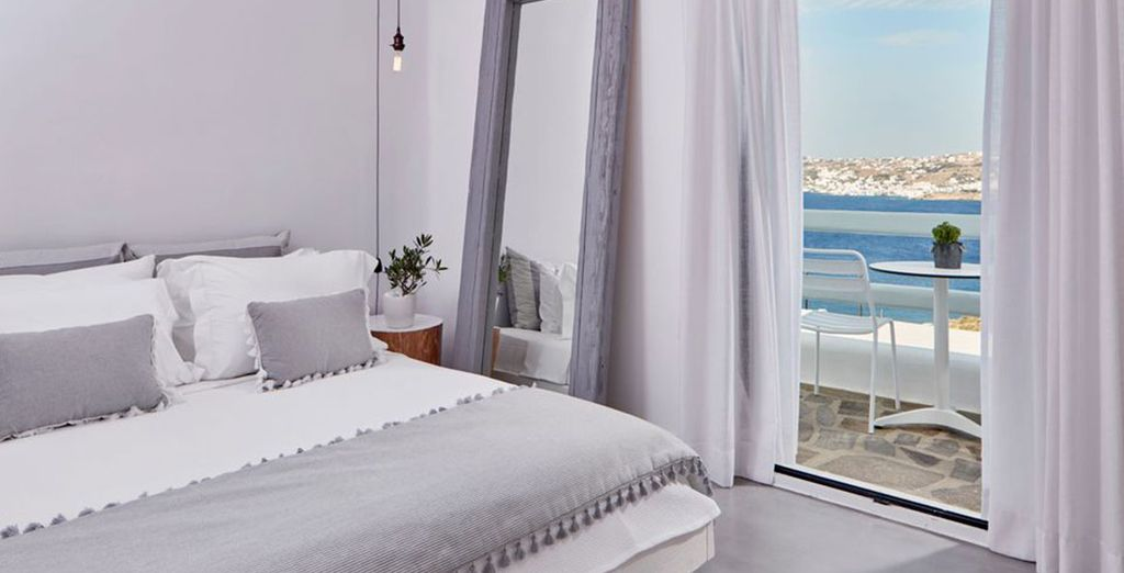 You'll stay in a Deluxe Room with fabulous sea views