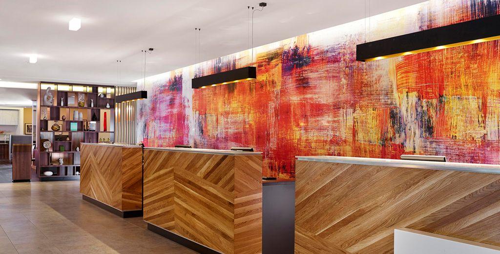 Striking, vibrant design greets you upon entering the Doubletree Hilton Islington