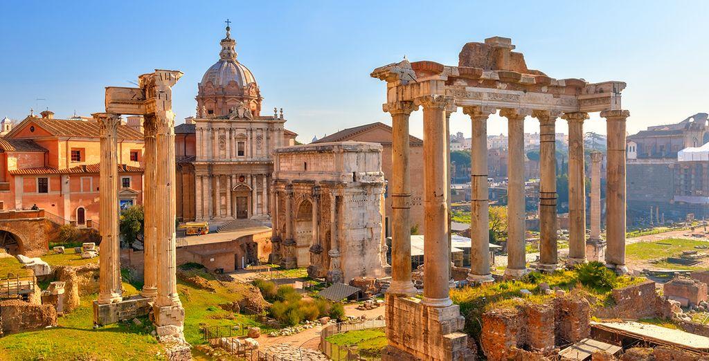 Located near the historic ruins of Fori Imperiali