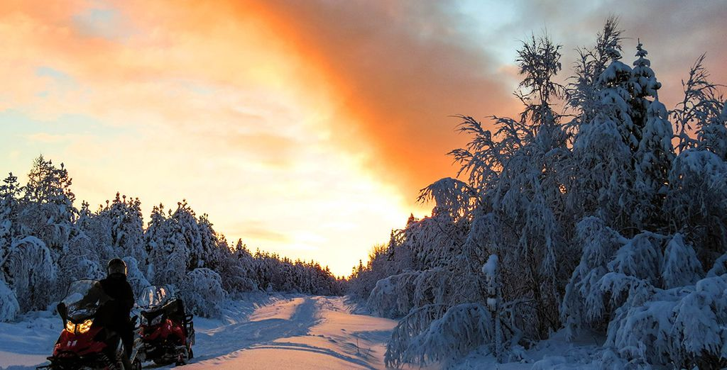 You can enjoy some thrilling experiences, including snowmobiling