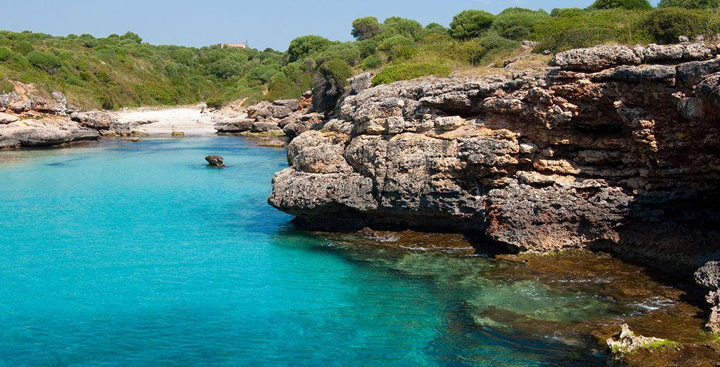 With its hidden beach coves 10 min away