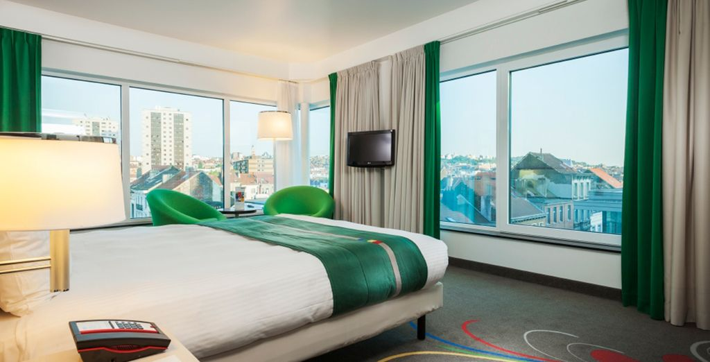 In a spacious Business Friendly Room