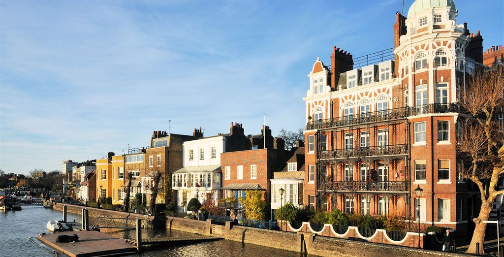 You'll be staying in the borough of Hammersmith...where impressive Edwardian townhouses dominate the scene