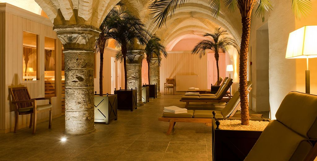 Unwind in historic spa cellars, which date back to the 14th century