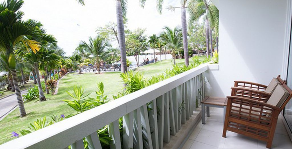 Your room overlooks the manicured gardens
