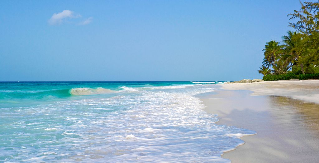 Overlooking a stretch of white sand beach...