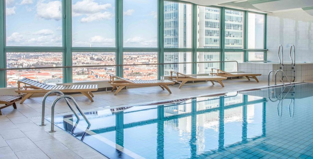 Panoramic city views from the rooftop pools