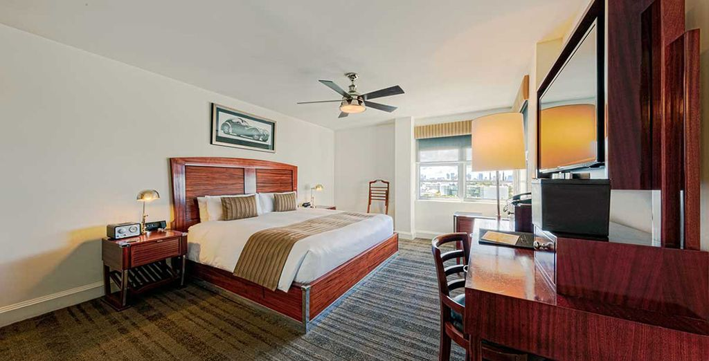 Settle in to your Art Deco City View room