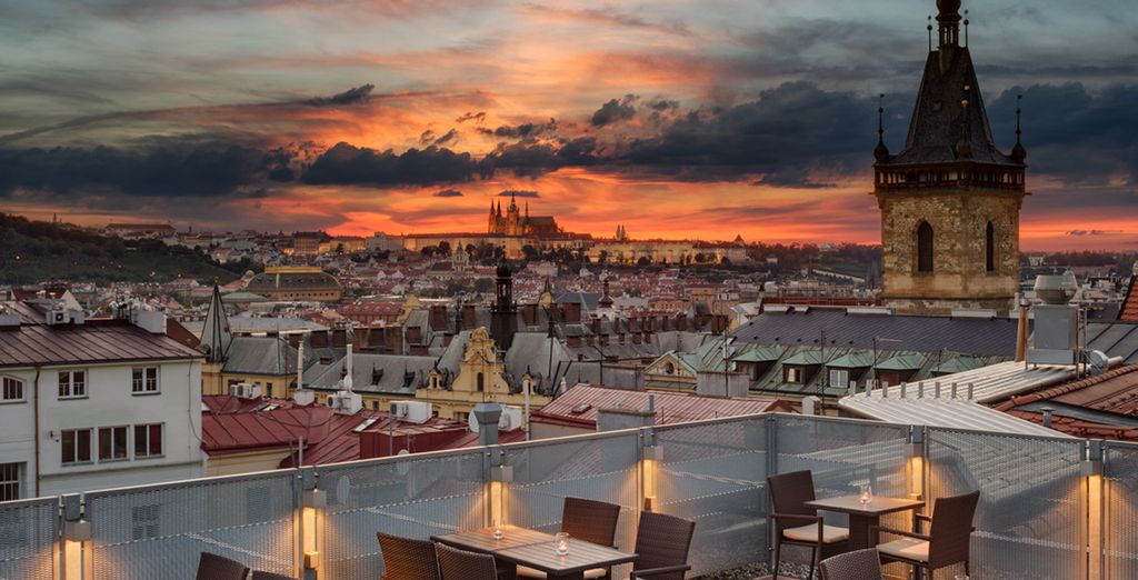 Look over the impressive cityscape from the terrace