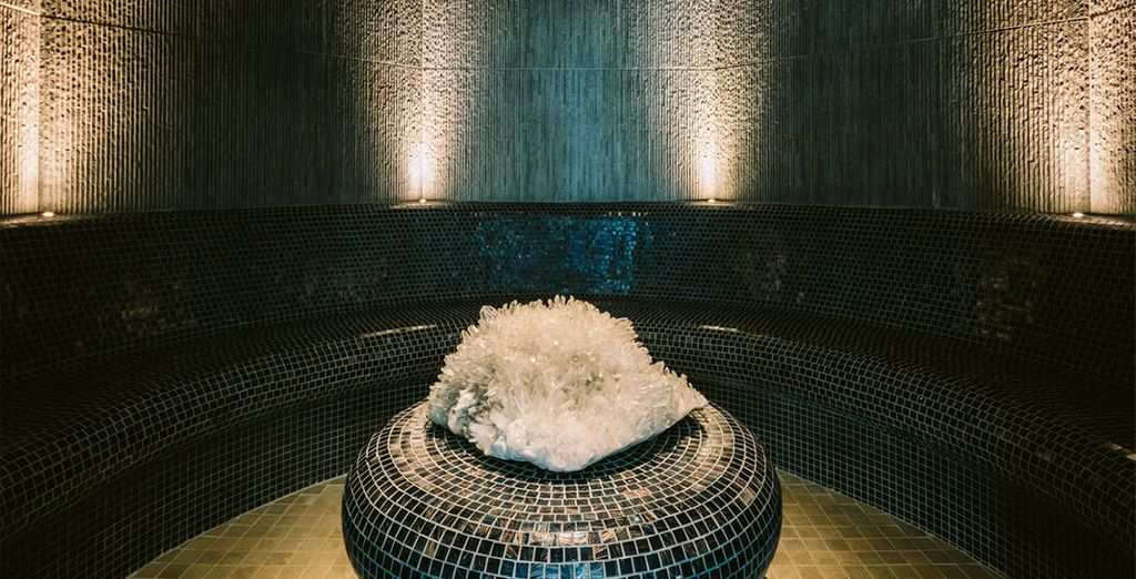 Ease tired muscles in the crystal salt steam room...